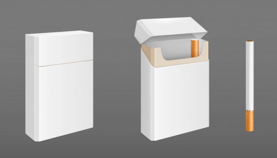 Paquete de cigarrillos con un cigarrillo. vector gratuito